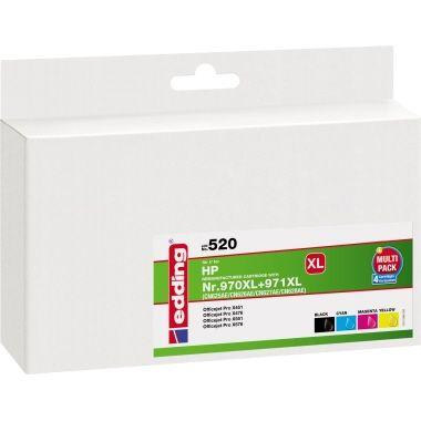 edding Tintenpatrone HP 970XL/971XL schwarz, cyan, magenta, gelb