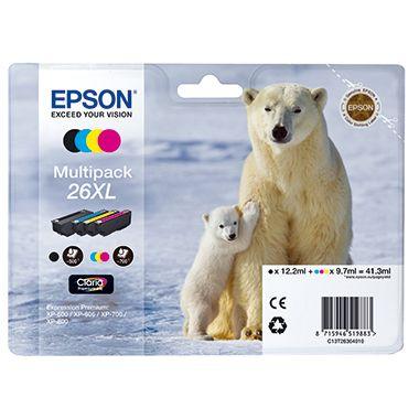 Epson Tintenpatrone 26XL schwarz, cyan, magenta, gelb